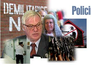 Montage of images relating to policing and justice