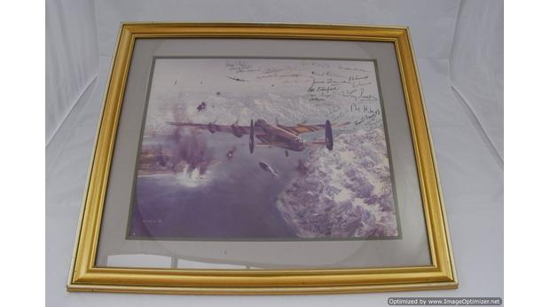 Signed print of a Lancaster bomber