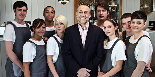 Michel Roux with his trainees