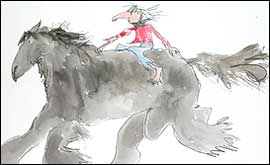 Quentin Blake illustration showing rider on horse
