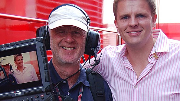 Roger Bines, BBC Sport's rigger, and Jake Humphrey