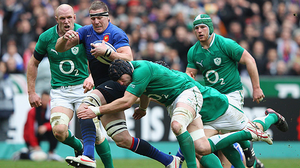 Ireland's Stephen Ferris tackles Imanol Harinordoquy of France during Sunday's RBS Six Nations match in Paris. Photo: Getty