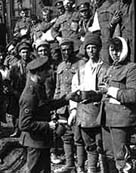 Photograph of wounded soldiers about to entrain