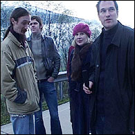 Austria: On the road, short of sleep. L - R: Stephen Westwater (bass), Louise Quinn (guitar and vocals), Alistair Quinn (drums and computer)