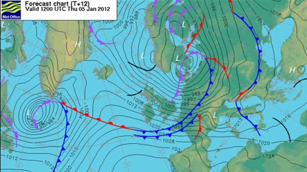 Met Office chart for Thursday, 4 January from 12 noon.