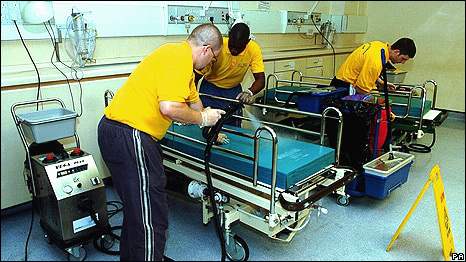 Men cleaning at the emrgency department of University College Hospial in London