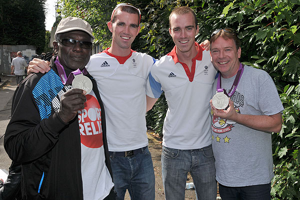 Richard and Peter Chambers with Rudolph Walker and Adam Woodyatt