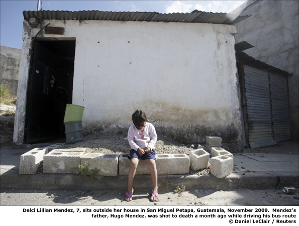 Delci Mendez outside her house