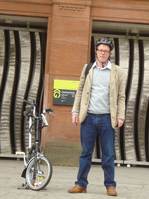 Mark Bell with his trusty bike on the walking tour