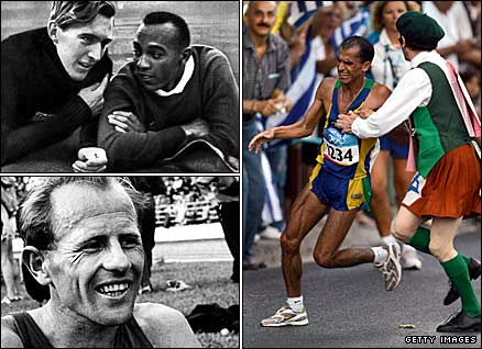 German long jumper Lutz Long (top left, pictured with America's Jesse Owens) at the 1936 Olympics, Czechoslovkia's Emil Zatopek at the 1952 Games (bottom left) and Brazilian marathon runner Vanderlei de Lima at the 2004 Games