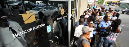 People queuing outside the Bank of Antigua