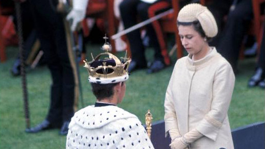 Prince Charles being invested by his mother, Queen Elizabeth ll
