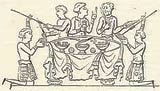 Illustration of Anglo-Saxons dining