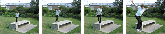 A sequence of action shots showing someone running up to a bench and jumping off it
