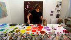 Artist Fiona Rae mixes paint