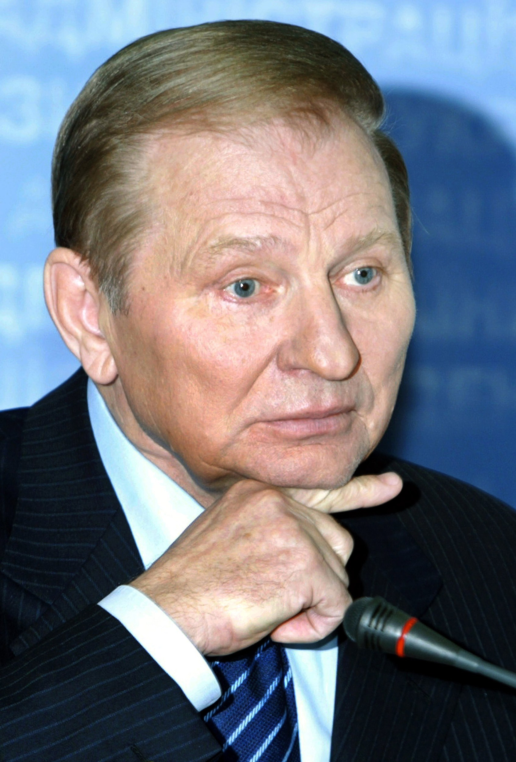 President Leonid Kuchma gesturing during a press-conference in Kiev. Ukraine