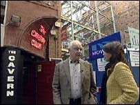 Roy Adams and Ana Boulter outside the replica Cavern