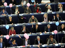 Members of the European Parliament in session in Strasbourg, 20 Oct 10