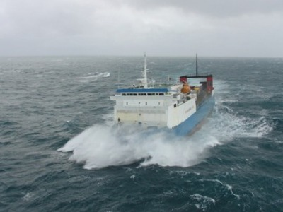 Muirneag in rough seas (courtesy www.shipsofcalmac.co.uk, Chris Murray)