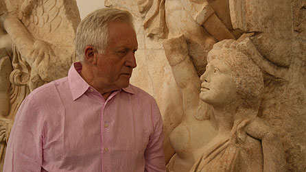 Seven Ages Of Britain: David Dimbleby looking at face of Britannia at Aphrodisias, Turkey