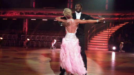 Audley Harrison and Natalie Lowe dancing.
