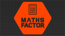 Orange hexagon with a calculator and the words maths factor