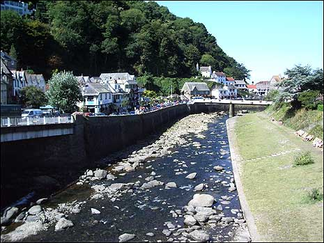 A view of Lynmouth from up river