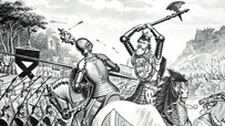 Illustration depicting the charge of Sir Henry de Bohun against the Scottish King Robert the Bruce during the Battle of Bannockburn.