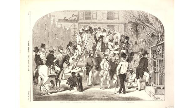 A slave market in the United States of America. Copyright Trustees of the British Museum