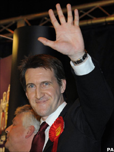 Labour party candidate Dan Jarvis celebrates winning the Barnsley Central by-election