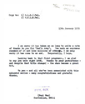 Memo from Controller of BBC1 to David Croft