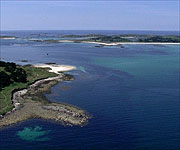 Aerial picture of some of the many islands that make up the Isles of Scilly