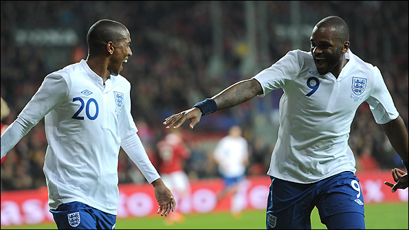 Ashley Young (left) and Darren Bent were on the scoresheet for England against Denmark.