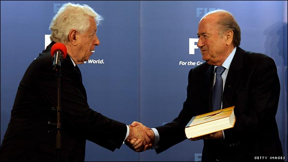 Football Federation Australia chief Frank Lowy and Fifa president Sepp Blatter
