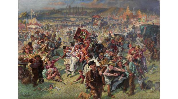 This lively painting depicts the 19th century Tyneside event, the Blaydon Races. © Tyne & Wear Archives & Museums