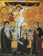 Coptic religious painting of Jesus hanging on the cross with women, angels, the sun and the moon surrounding him