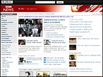 A graphic of the new look BBC News website