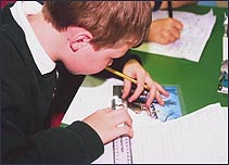 A child hard at work at a school in London