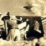 A 25-pounder gun in action
