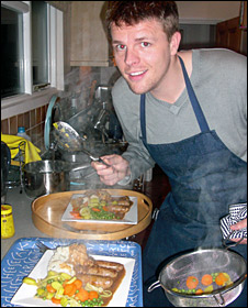 Jake, cooking at home