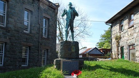Hedd Wyn statue in Trawsfynydd. Photo © Alan Fryer and licensed for reuse under a Creative Commons Licence
