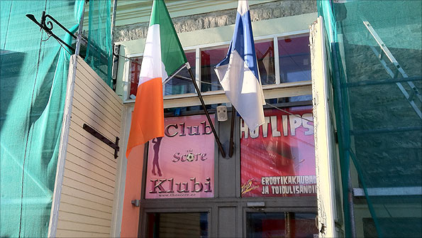Flags of the Republic of Ireland and Estonia in Tallinn