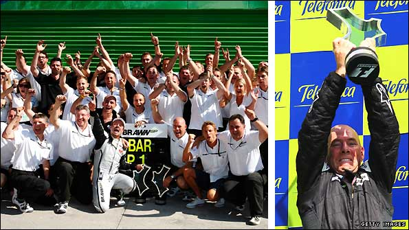 The Brawn GP team celebrate Rubens Barrichello's win in Valencia and race engineer Jock Clear clutches his trophy