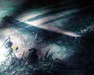 Illustration of the Scharnhorst on the seabed