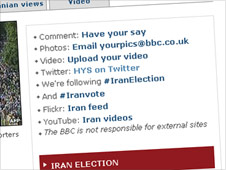 Screengrab of Iran links