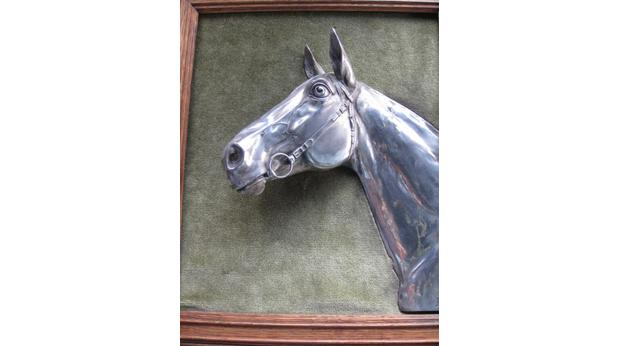 Electro-plated framed horse head
