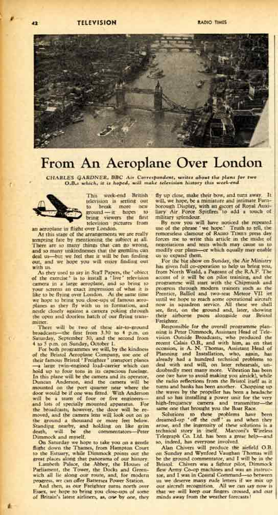 Picture of page one of a draft article about an aerial journey over London.