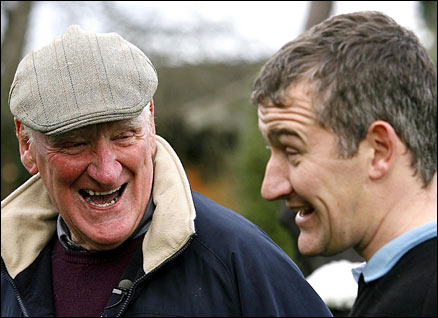 Donald McCain (right) speaks with his father Donald 'Ginger', at his Stables in Cheshire