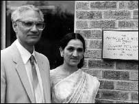 Avatar Nath Duggal with his wife after the opening of the surgery in Quedgeley in 1986