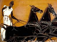 Panathenaic amphora showing  chariot race